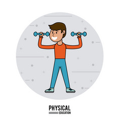 physical education - boy lifting dumbbell sport vector image vector image