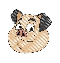 Pig character farm animal domestic image vector