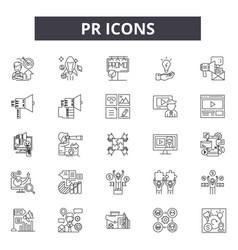Pr line icons signs set linear concept vector