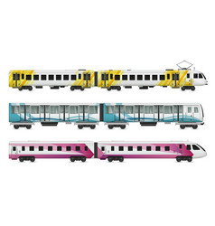 Rail transport cars set vector