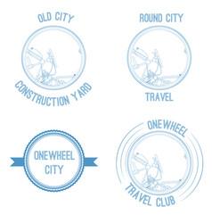 retro logo with monowheel vector image