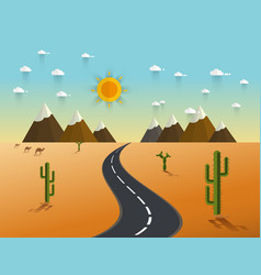 Road through a desert and mountains vector
