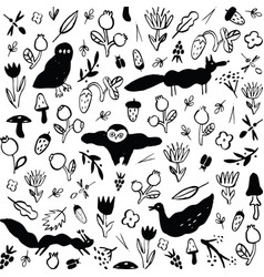 seamless black and white pattern with animals vector image