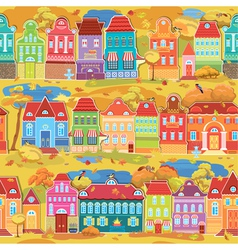 Seamless pattern with decorative colorful houses vector