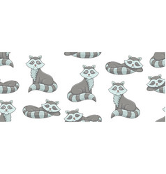 seamless pattern with raccoons vector image