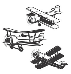 set airplane icons isolated on white vector image