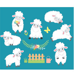 Set of cartoon smiling white sheeps vector