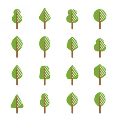 Set of different kinds of trees geometric icons vector