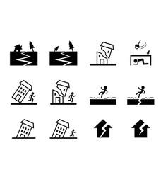 Set of earthquake icon in art design vector