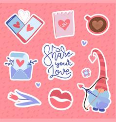 set valentine day labels and badges love vector image