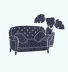 sofa black and white icon vector image