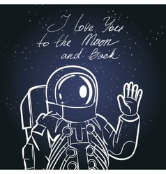 Spaceman astronaut Vintage typography hand drawn vector
