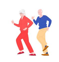 Stylish elderly running couple flat vector