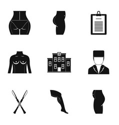 Surgery correction icon set simple style vector