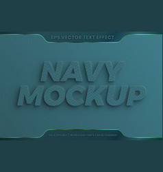 Text effect in realistic 3d navy mockup words vector