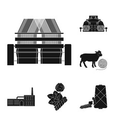 Textile industry black icons in set collection for vector