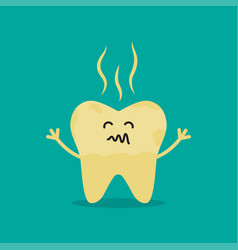 Unhealthy tooth cartoon rotten tooth character vector