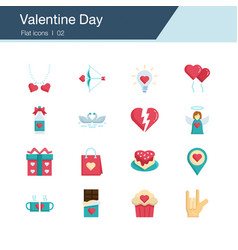 valentine day icons flat design vector image