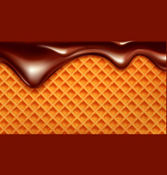 Wafer cake with flowing down chocolate vector