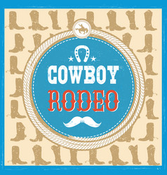 Wild west card with cowboy boots decoration and vector
