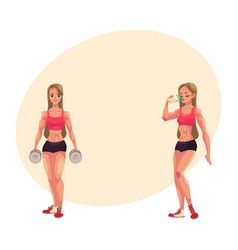woman bodybuilder holding dumbbells and drinking vector image