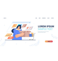 woman ordering goods in computer app fast delivery vector image