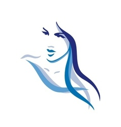 Woman with long hair vector