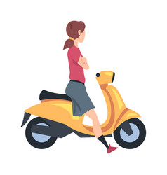 young woman riding scooter side view girl vector image