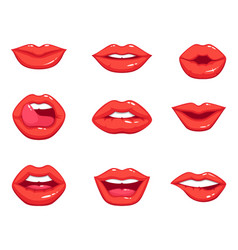 different shapes of female sexy red lips vector image