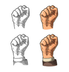 human hand with a clenched fist black vector image vector image