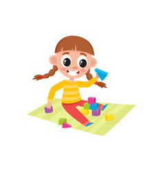 little girl playing with toy wooden blocks vector image vector image