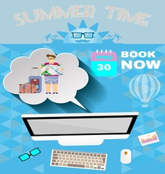 Summer time blue infographic with book now text vector image