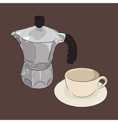 Coffee cup and coffee maker geyser vector image