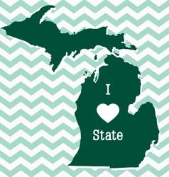 Cute green chevron Michigan card vector image