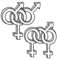 doodle gender sex groups vector image vector image
