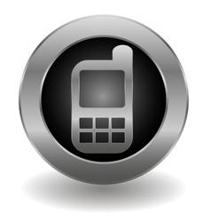 Metallic cell phone button vector image vector image
