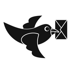 pigeon fly with mail icon simple style vector image