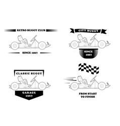 retro logo with small buggy vector image