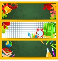 School accessories on a green chalkboard vector image vector image