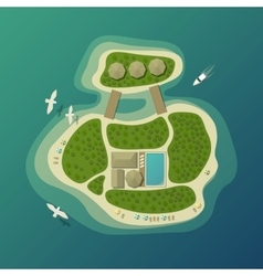 Top view on tropical island or isle with beach vector image