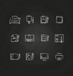 writing tools line icons on chalkboard design vector image vector image