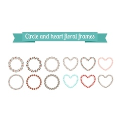 Colorful circle and heart floral frames vector image