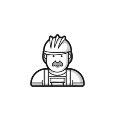 contour icon builder in helmet and overalls vector image