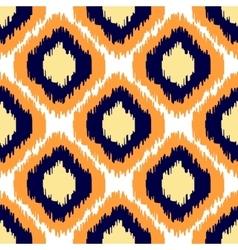 Ikat geometric seamless pattern Orange and blue vector image vector image