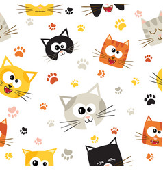 seamless pattern with cute cartoon cats vector image vector image