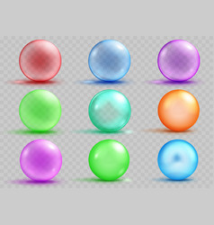 set of transparent and opaque colored spheres vector image