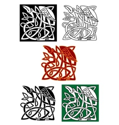 Celtic totems with birds vector image