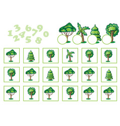counting game for children with trees vector image