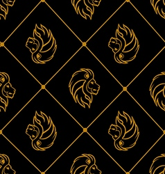 Gold lion heads on black background vector image