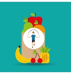 man jump rope exercising bag health food vector image vector image